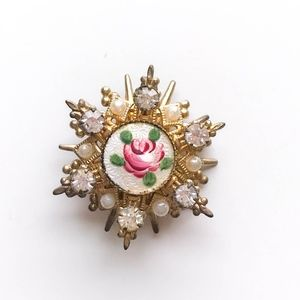 Authentic Vintage Rose Brooch with Rhinestones
